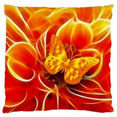 Arrangement Butterfly Aesthetics Orange Background Large Flano Cushion Case (two Sides) by Celenk