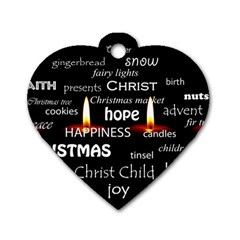 Candles Christmas Advent Light Dog Tag Heart (one Side) by Celenk
