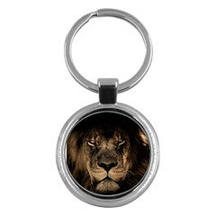 African Lion Mane Close Eyes Key Chains (round)