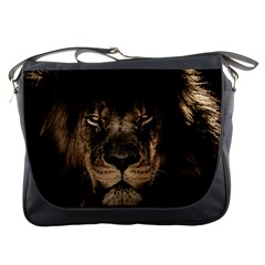African Lion Mane Close Eyes Messenger Bags by Celenk