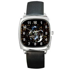 Christmas Star Ball Square Metal Watch by Celenk