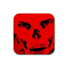 Halloween Face Horror Body Bone Rubber Square Coaster (4 Pack)  by Celenk