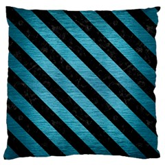 Stripes3 Black Marble & Teal Brushed Metal Large Flano Cushion Case (one Side) by trendistuff