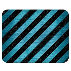 Stripes3 Black Marble & Teal Brushed Metal (r) Double Sided Flano Blanket (medium)  by trendistuff