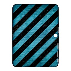 Stripes3 Black Marble & Teal Brushed Metal (r) Samsung Galaxy Tab 4 (10 1 ) Hardshell Case  by trendistuff