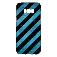 Stripes3 Black Marble & Teal Brushed Metal (r) Samsung Galaxy S8 Plus Hardshell Case  by trendistuff