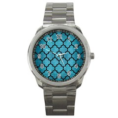 Tile1 Black Marble & Teal Brushed Metal Sport Metal Watch by trendistuff