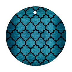 Tile1 Black Marble & Teal Brushed Metal Round Ornament (two Sides) by trendistuff