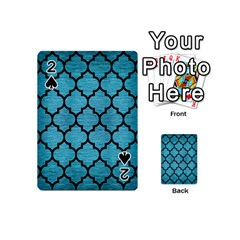 Tile1 Black Marble & Teal Brushed Metal Playing Cards 54 (mini)  by trendistuff