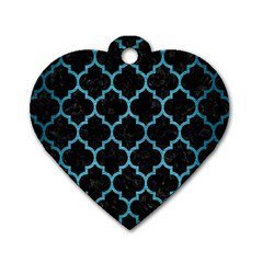 Tile1 Black Marble & Teal Brushed Metal (r) Dog Tag Heart (one Side) by trendistuff