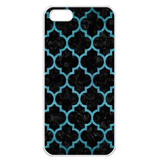 Tile1 Black Marble & Teal Brushed Metal (r) Apple Iphone 5 Seamless Case (white) by trendistuff