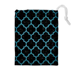 Tile1 Black Marble & Teal Brushed Metal (r) Drawstring Pouches (extra Large) by trendistuff