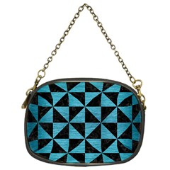 Triangle1 Black Marble & Teal Brushed Metal Chain Purses (one Side)  by trendistuff