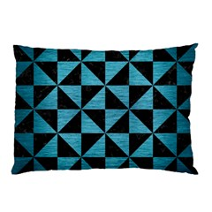Triangle1 Black Marble & Teal Brushed Metal Pillow Case by trendistuff