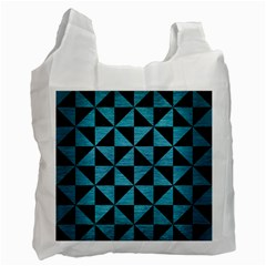 Triangle1 Black Marble & Teal Brushed Metal Recycle Bag (one Side) by trendistuff
