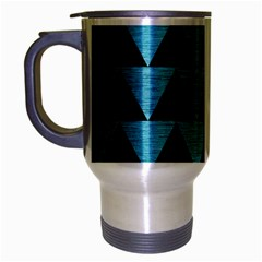 Triangle2 Black Marble & Teal Brushed Metal Travel Mug (silver Gray) by trendistuff