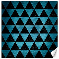 Triangle3 Black Marble & Teal Brushed Metal Canvas 12  X 12   by trendistuff