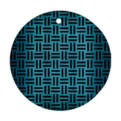 Woven1 Black Marble & Teal Brushed Metal Round Ornament (two Sides) by trendistuff