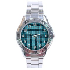 Woven1 Black Marble & Teal Brushed Metal Stainless Steel Analogue Watch by trendistuff