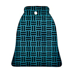 Woven1 Black Marble & Teal Brushed Metal Bell Ornament (two Sides) by trendistuff