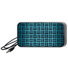Woven1 Black Marble & Teal Brushed Metal Portable Speaker by trendistuff