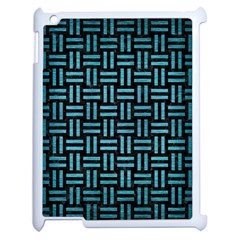 Woven1 Black Marble & Teal Brushed Metal (r) Apple Ipad 2 Case (white) by trendistuff