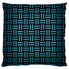 Woven1 Black Marble & Teal Brushed Metal (r) Standard Flano Cushion Case (one Side) by trendistuff