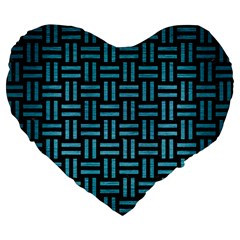 Woven1 Black Marble & Teal Brushed Metal (r) Large 19  Premium Flano Heart Shape Cushions