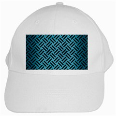 Woven2 Black Marble & Teal Brushed Metal White Cap by trendistuff