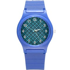 Woven2 Black Marble & Teal Brushed Metal Round Plastic Sport Watch (s) by trendistuff
