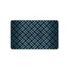 Woven2 Black Marble & Teal Brushed Metal (r) Magnet (name Card) by trendistuff