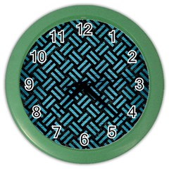 Woven2 Black Marble & Teal Brushed Metal (r) Color Wall Clocks by trendistuff