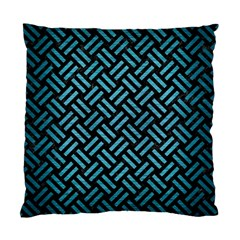 Woven2 Black Marble & Teal Brushed Metal (r) Standard Cushion Case (one Side) by trendistuff