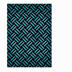 Woven2 Black Marble & Teal Brushed Metal (r) Large Garden Flag (two Sides) by trendistuff