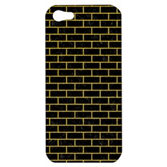 Brick1 Black Marble & Yellow Denim (r) Apple Iphone 5 Hardshell Case by trendistuff