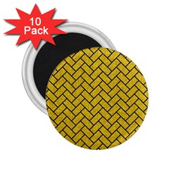 Brick2 Black Marble & Yellow Denim 2 25  Magnets (10 Pack)  by trendistuff
