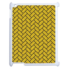 Brick2 Black Marble & Yellow Denim Apple Ipad 2 Case (white) by trendistuff