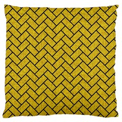 Brick2 Black Marble & Yellow Denim Large Cushion Case (two Sides) by trendistuff