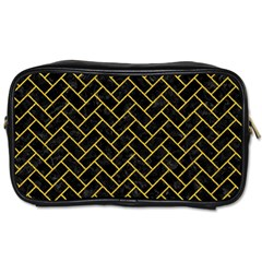 Brick2 Black Marble & Yellow Denim (r) Toiletries Bags by trendistuff