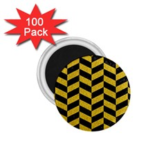 Chevron1 Black Marble & Yellow Denim 1 75  Magnets (100 Pack)  by trendistuff