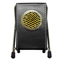 Chevron1 Black Marble & Yellow Denim Pen Holder Desk Clocks by trendistuff