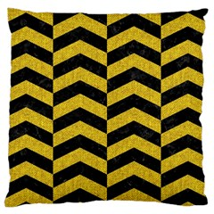 Chevron2 Black Marble & Yellow Denim Large Cushion Case (two Sides) by trendistuff
