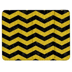 Chevron3 Black Marble & Yellow Denim Samsung Galaxy Tab 7  P1000 Flip Case by trendistuff