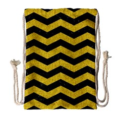 Chevron3 Black Marble & Yellow Denim Drawstring Bag (large) by trendistuff