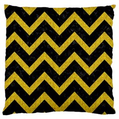 Chevron9 Black Marble & Yellow Denim (r) Large Cushion Case (two Sides) by trendistuff