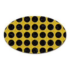 Circles1 Black Marble & Yellow Denim Oval Magnet by trendistuff