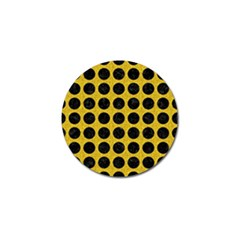 Circles1 Black Marble & Yellow Denim Golf Ball Marker by trendistuff