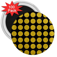 Circles1 Black Marble & Yellow Denim (r) 3  Magnets (100 Pack) by trendistuff