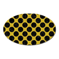Circles2 Black Marble & Yellow Denim Oval Magnet by trendistuff