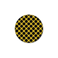 Circles2 Black Marble & Yellow Denim Golf Ball Marker (4 Pack) by trendistuff